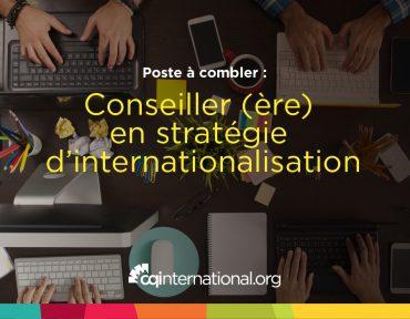 poste à combler - CQI -conseiller conseillère en stratégie d'internationalisation